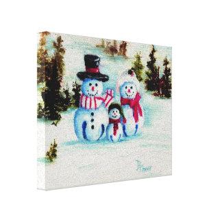 Snowman Family Canvas Print