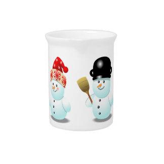 Snowman Family Cartoon Beverage Pitcher
