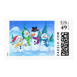 Snowman Family Cartoon Stamp at Zazzle