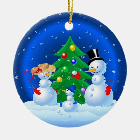 Snowman Family Ceramic Ornament