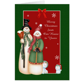 Snowman Family Christmas Greeting Cards