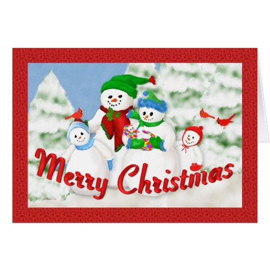 Snowman Family Christmas Greeting Card