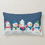 """Snowman Family Christmas Personalized Name Holiday Lumbar Pillow<br><div class=""""desc"""">Snowman Family Christmas Personalized Name Holiday Lumbar Pillow. Cute five person snowman family custom personalized names decorative Christmas throw pillow. Makes the perfect Christmas gift and holiday decor for winter.</div>"""