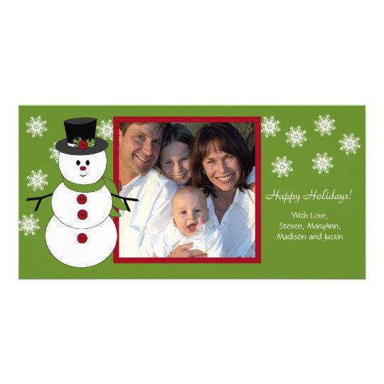 Snowman Family Christmas Photo Card