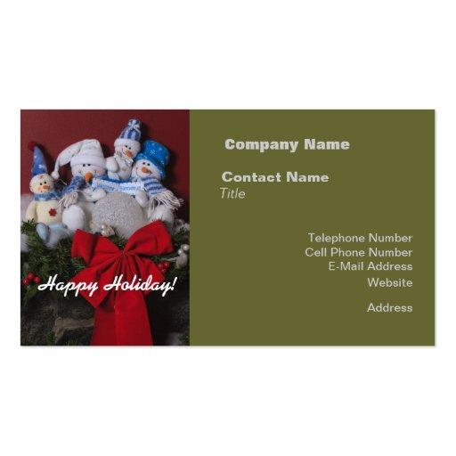 Snowman Family Christmas Wreath Business Card