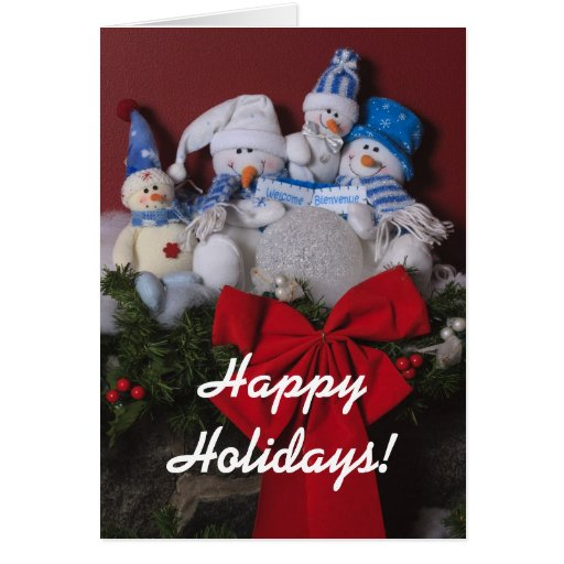 Snowman Family Christmas Wreath Stationery Note Card