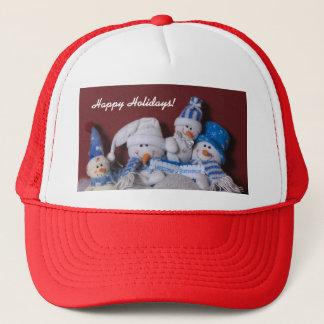 Snowman Family Christmas Wreath Trucker Hat