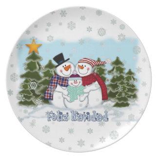 Snowman Family Feliz Navidad Plate