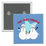 Snowman Family First Family Christmas Button
