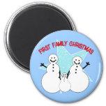 Snowman Family First Family Christmas Fridge Magnets