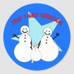 Snowman Family First Family Christmas Round Stickers