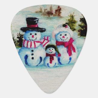 Snowman Family Guitar Pick