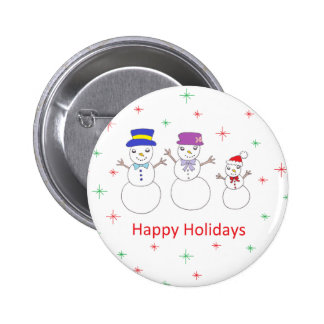Snowman Family Happy Holidays Buttons