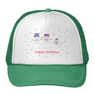 Snowman Family Happy Holidays Trucker Hat