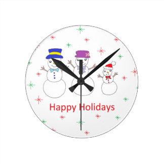 Snowman Family Happy Holidays Round Clock