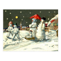 Snowman family heading together on Christmas night Postcard