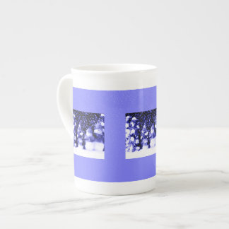 Snowman Family in Winter Blue Tea Cup