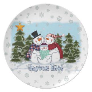 Snowman Family Joyeux Noel Plate