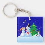 Snowman Family Keychain