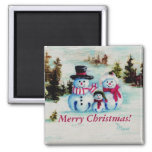 Snowman Family Merry Christmas Magnet