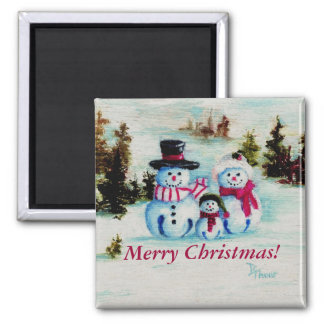 Snowman Family Merry Christmas Magnet