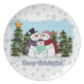 Snowman Family Merry Christmas Plate