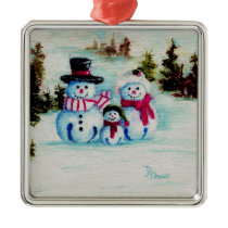 Snowman Family Metal Ornament