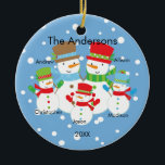 """Snowman Family of 5 Christmas Ornament CUTE<br><div class=""""desc"""">Our family of 5 christmas ornament features a cute snowman couple set on a snow filled blue background!   Personalize with your information and date and you're all set to go!  Wonderful dated keepsake gift for your first christmas and a great addition to you christmas ornament collection.</div>"""