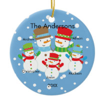 Snowman Family of 5 Christmas Ornament CUTE