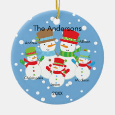 Snowman Family Of 5 Christmas Ornament Cute at Zazzle