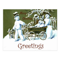 Snowman family on the way, winter season, vintage postcard