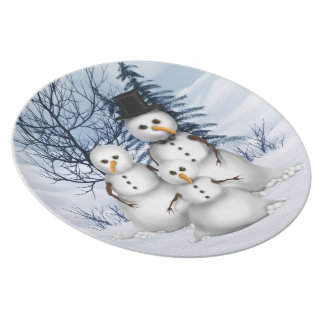 Snowman Family Plate