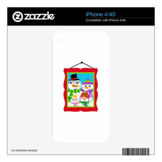 SNOWMAN FAMILY PORTRAIT DECALS FOR THE iPhone 4