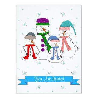 Snowman Family Snow Christmas Party Whimsical Art Card