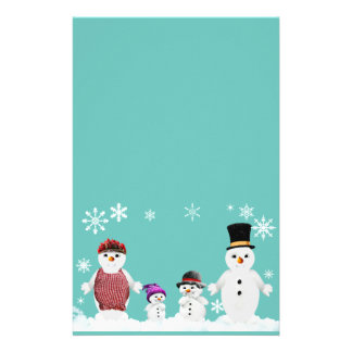 snowman family stationery