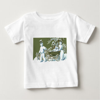 Snowman Family Walk Stroll Snow Baby T-Shirt
