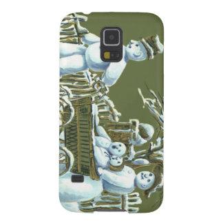 Snowman Family Walk Stroll Snow Galaxy S5 Case
