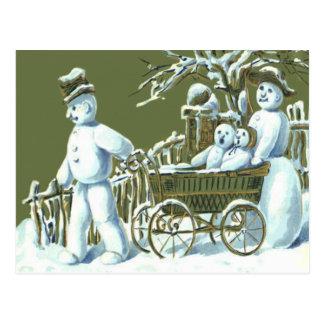 Snowman Family Walk Stroll Snow Postcard