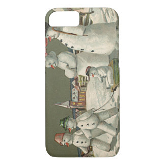 Snowman Family Winter Playing Snow Church iPhone 7 Case