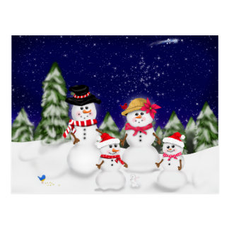 Snowman Family Winter Post Cards