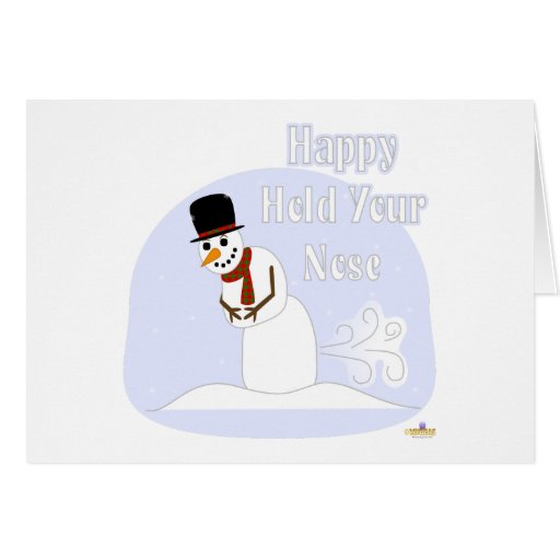 Snowman Farting Happy Hold Your Nose Blue Card