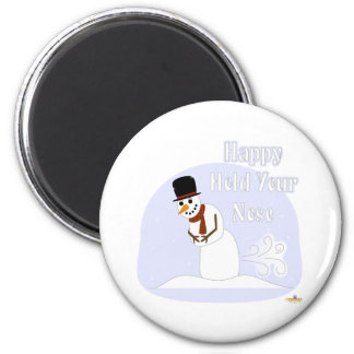 Snowman Farting Happy Hold Your Nose Blue Refrigerator Magnets