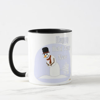 Snowman Farting Happy Hold Your Nose Blue Mug