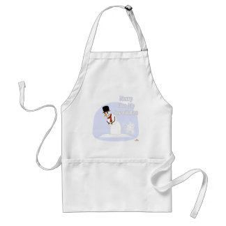 Snowman Farting Merry Kiss My Snowflakes Blue Adult Apron