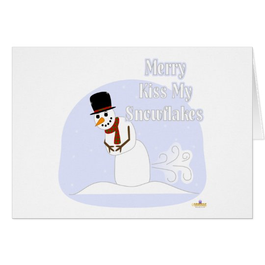 Snowman Farting Merry Kiss My Snowflakes Blue Card