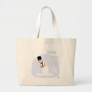 Snowman Farting Merry Sniff My Snow Blue Large Tote Bag