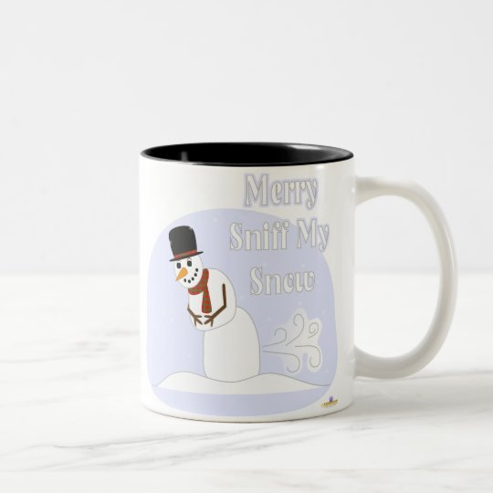 Snowman Farting Merry Sniff My Snow Blue Two-Tone Coffee Mug