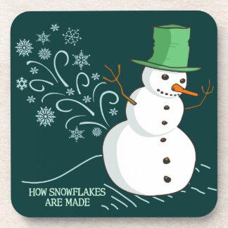 Snowman Farts Snowflakes Beverage Coaster