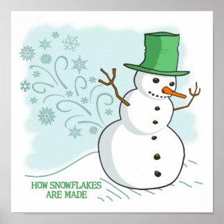 Snowman Farts Snowflakes Cartoon Poster