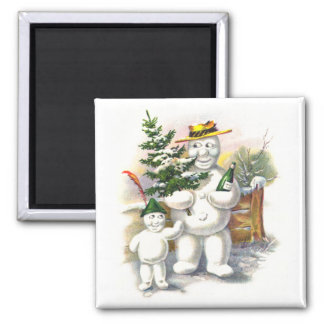 Snowman Father and Son 2 Inch Square Magnet